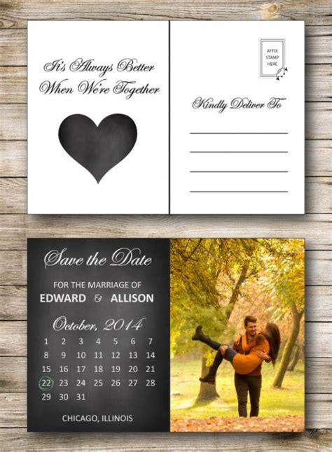 printable postcard calendar save the date postcard printable or printed chalkboard