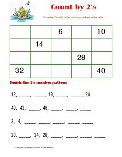 pattern matched line count skip counting second grade math worksheets biglearners