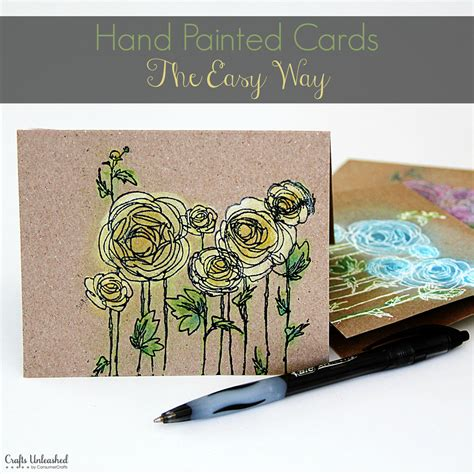Craft Paper Cards - how to painted note cards the easy way