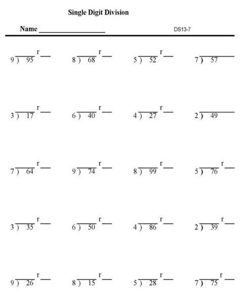 printable division practice worksheets division printables division worksheets single digit