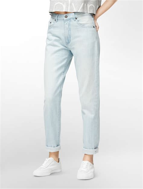 light wash jeans lyst calvin klein jeans nathalie high rise light wash