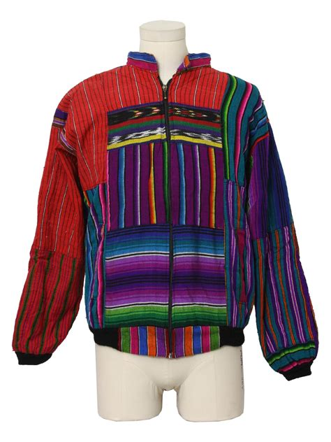 Vintage Colored Striped Print Jacket retro 80 s jacket 80s care label only unisex bright