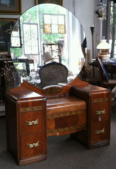 1920 S Dressing Table With Mirror by 1930 1940 S Deco Wood Inlay Vanity Dressing Table With