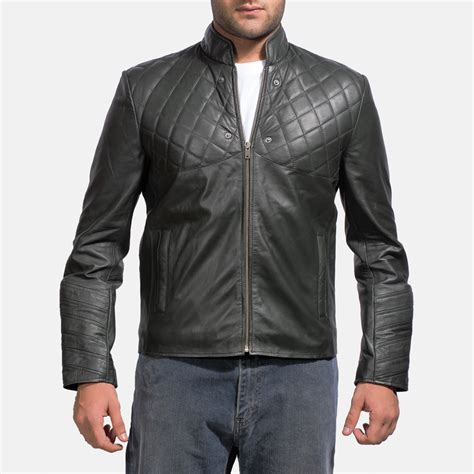 Mens Green Leather hooded leather coats fashion s coat 2017
