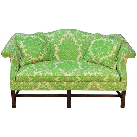 camelback sofas for sale vintage camelback sofa with green printed upholstery for
