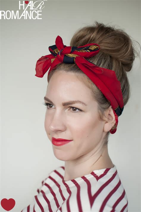 Hairstyles Bow Headband | 5 ways to wear a scarf and a top knot 4 retro bow