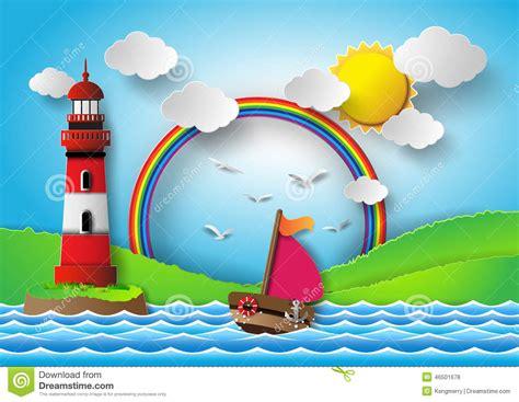 cartoon boat cut out yacht on sea with sun bream and rainbow stock vector