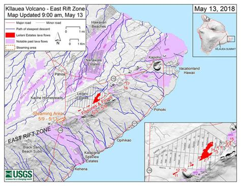 volcanoes in hawaii map hawaii volcano kilauea fissures mapped where are the