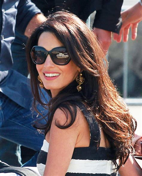 is amal clooney hair one length amal clooney long celebrity hairstyles instyle com