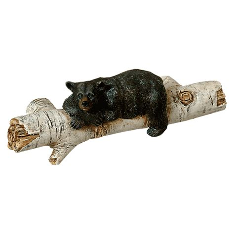 black bear on birch log drawer handle pull home cabin rustic hardware set of 6 bear drawer pulls black forest decor