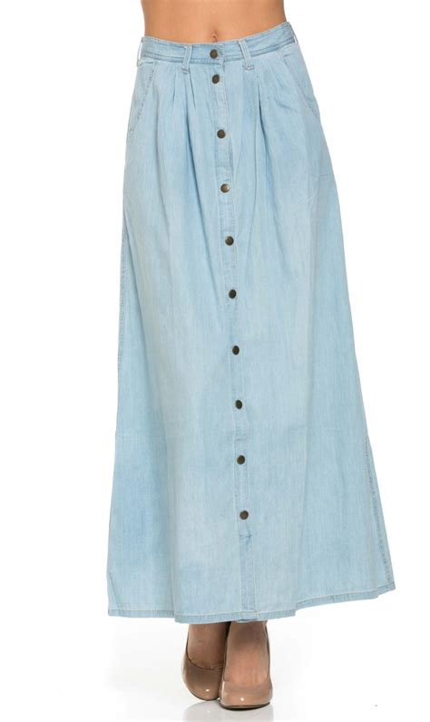 button denim maxi skirt in light wash