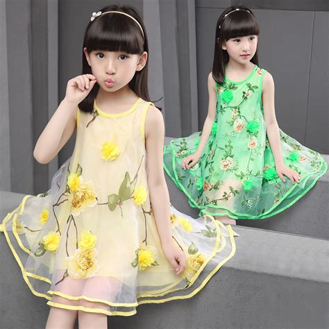 Dress Anak Flower Big flowers organza big dresses summer 2017 yellow green sleeveless princess