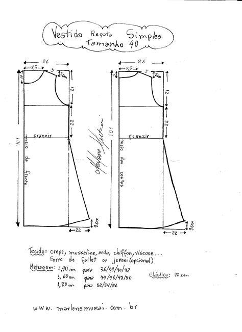esquema de vestido vestido regata simples diy molde corte e costura