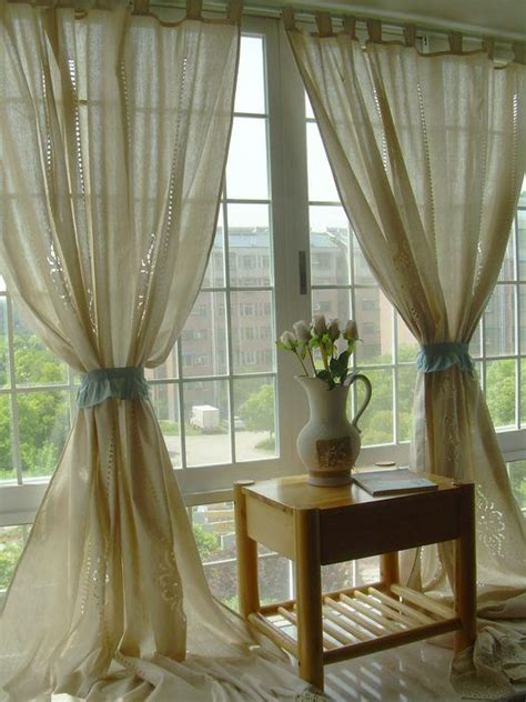 french curtain tab top french country cotton linen crochet lace curtain