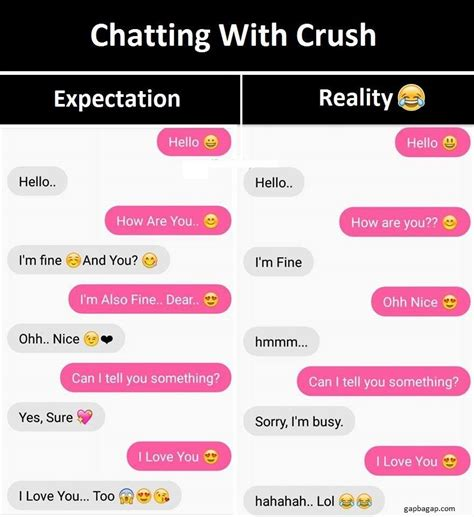message for secret crush text about crush vs expectation and reality