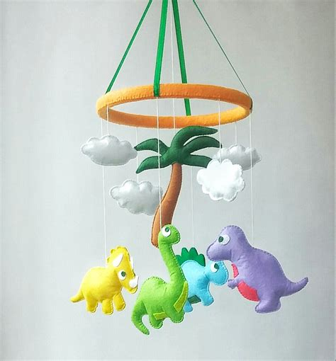 Baby Mobile For Crib Dinosaur Baby Crib Mobile Nursery Decor Felt Mobile Hanging