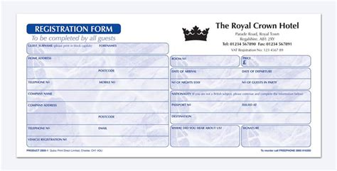 Hotel Registration Form Sle Hotel Guest Book Template