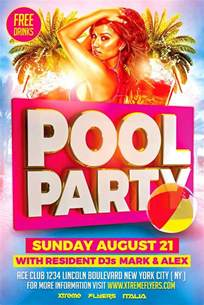 21 pool party flyers free psd ai eps format download