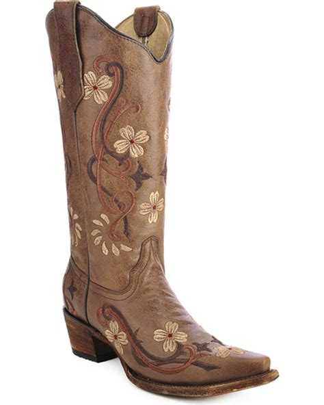 cow boots circle g floral embroidered boots snip toe