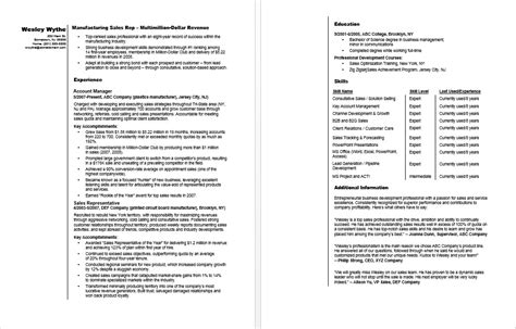 Resume Sles For Manufacturing Manufacturing Sales Rep Resume Sle
