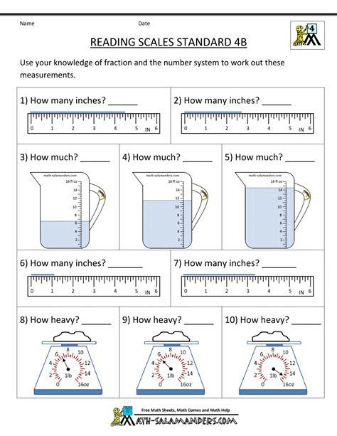 Www Worksheets by 4th Grade Measurement Worksheets