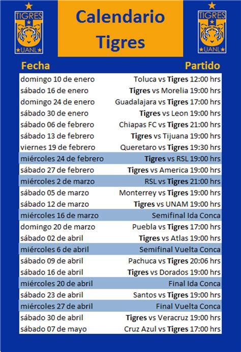 Calendario Tigres 2015 Calendario De Tigres Clausura 2016 Y Concachions 2016