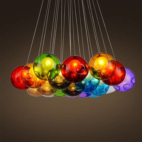 colorful pendant lights moderne color 233 boule de verre les suspendues pour salle