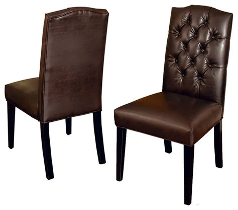 clark tufted back leather dining chairs set of 2