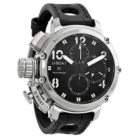 u boat watch leather strap u boat chronograph automatic black dial black leather