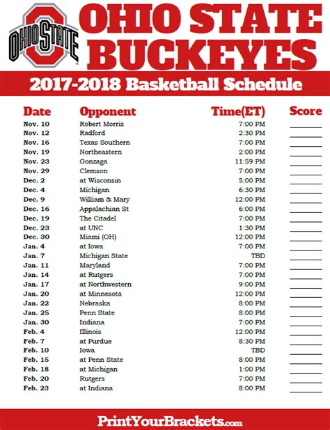 printable schedule ohio state football 2015 printable ohio st buckeyes 2017 2018 basketball schedule