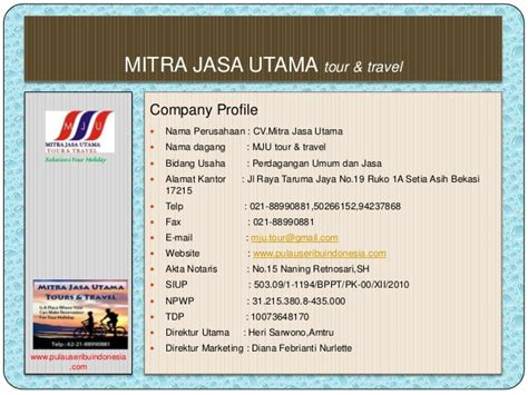 Sle Resume Contoh Company Profile Mju Tour Travel