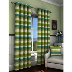 Green Striped Curtains St Ives Stripe Print Eyelet Curtains Green