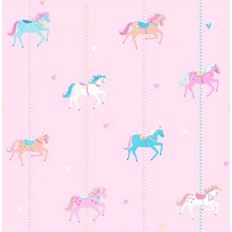 wallpaper pink blue white decorline carousel childrens wallpaper pink blue white