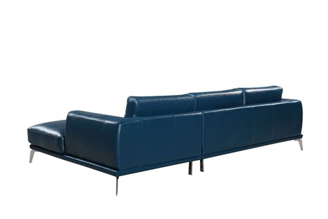 modern blue sofa divani casa drancy modern blue bonded leather sectional sofa