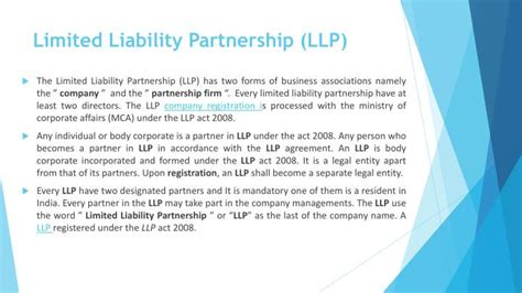 ministry of corporate affairs the limited liability ppt company registration procedures in bangalore
