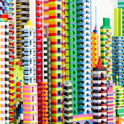 designboom art laird kay s lego city critiques the artificial