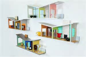 shelving for walls in homes these shelves as mid century modernist dollhouses