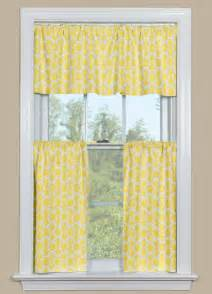 Kitchen curtain valance and tier pair with geometric pattern in yellow
