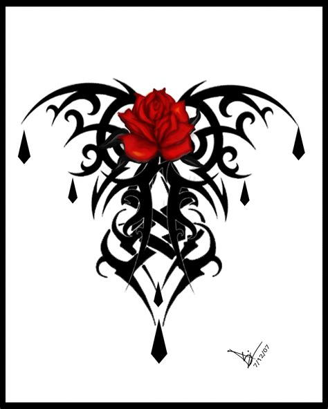 tribal rose tattoo design by tribal
