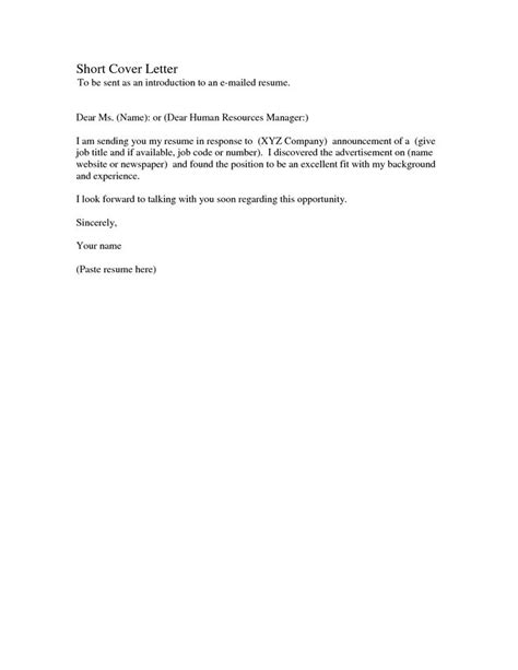 exle of a simple cover letter best letter sles simple cover letter