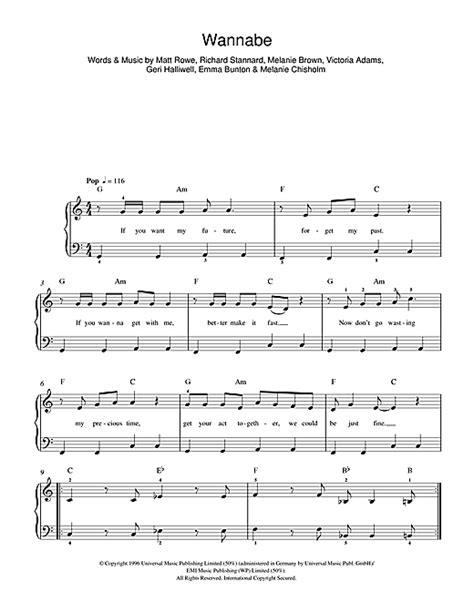 lyrics spice wannabe wannabe sheet by the spice beginner piano 43128