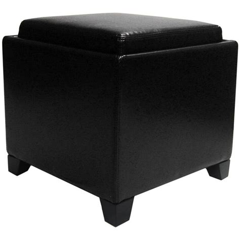 Black Storage Ottoman Contemporary Storage Ottoman With Tray Black Lc530otlebl Decor South