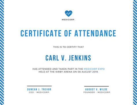 minimalist conference attendance certificate templates