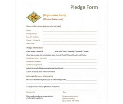 pledge card fundraising template donation pledge form donation pledge form template