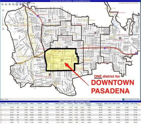 map of pasadena california one council district for downtown pasadena downtown