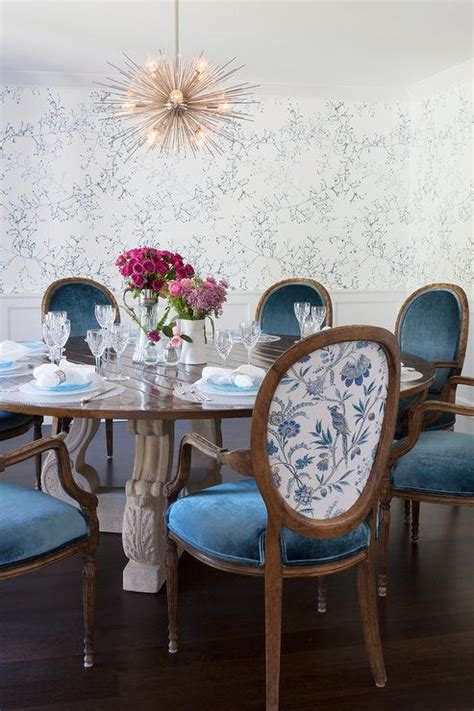 Dining Room Chairs In Blue Oval Dining Table With White T Back Dining Chairs