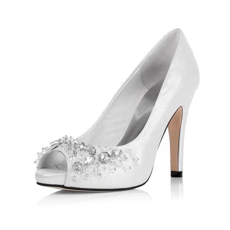 peep toe rhinestone mid heel sparkling white prom shoes