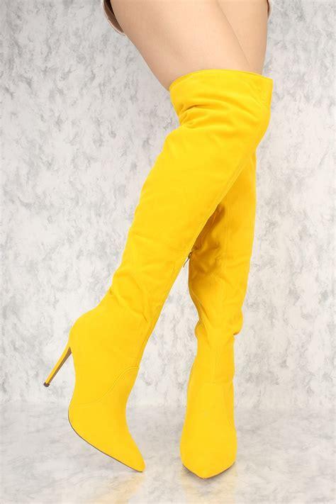 yellow high heel boots yellow slouchy pointy toe the knee high heel ami