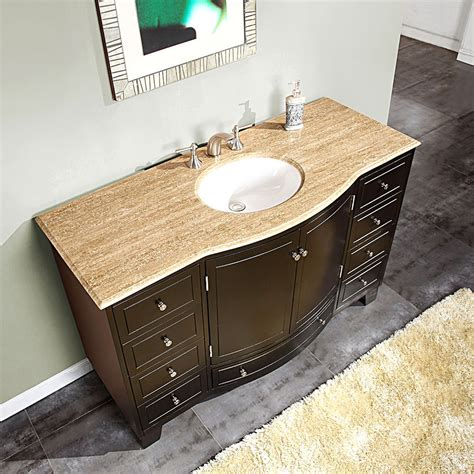 Single Sink Vanity Top by Silkroad 60 Inch Single Sink Bathroom Vanity Walnut