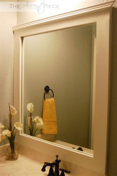 diy framed bathroom mirror
